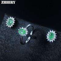 100 Natural Emearld Gem Stone Set Real 925 Sterling Silver Jewelry Sets Women Birthstone Anniversary Wedding