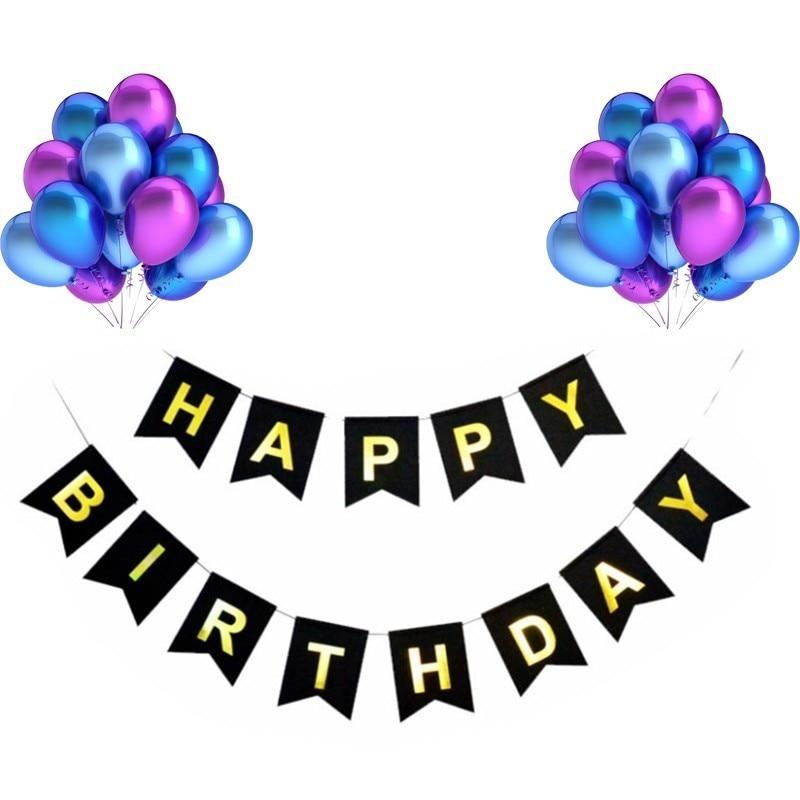 21 Pieces Of Latex Balloons Multicolor Happy Birthday Black Bunting Party Decoration DIY