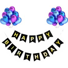 21 Pieces Of Latex Balloons Multicolor Happy Birthday Black Bunting Party Decoration DIY