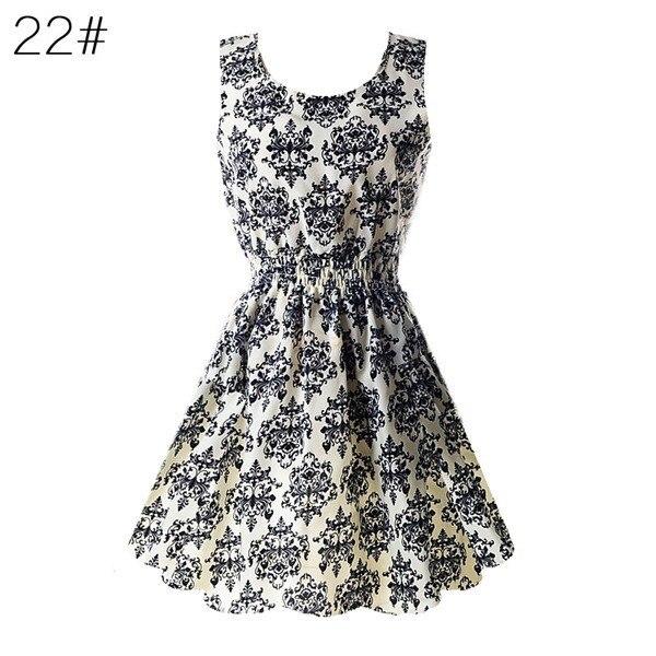 HTB1SIL2NmzqK1RjSZPcq6zTepXaK Fashion Women Sexy Chiffon Beach Dress Sleeveless Summer Sundress Floral Tank Dresses 20 Colors