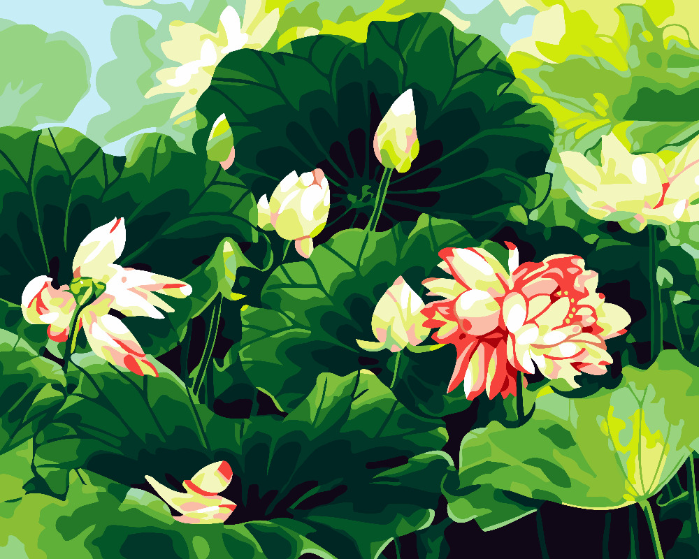 Hq Water Lily Lotus Flower Green Painting By Numbers Acrylic Paint