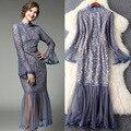 Design perspectiva net fios lace dress mulheres nova primavera elegante gola de babados manga flare vestidos de mid-calf
