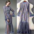 Perspective Net Yarn Design Lace Dress Women New Spring Elegant Ruffled Collar Flare Sleeve Mid-calf Dresses