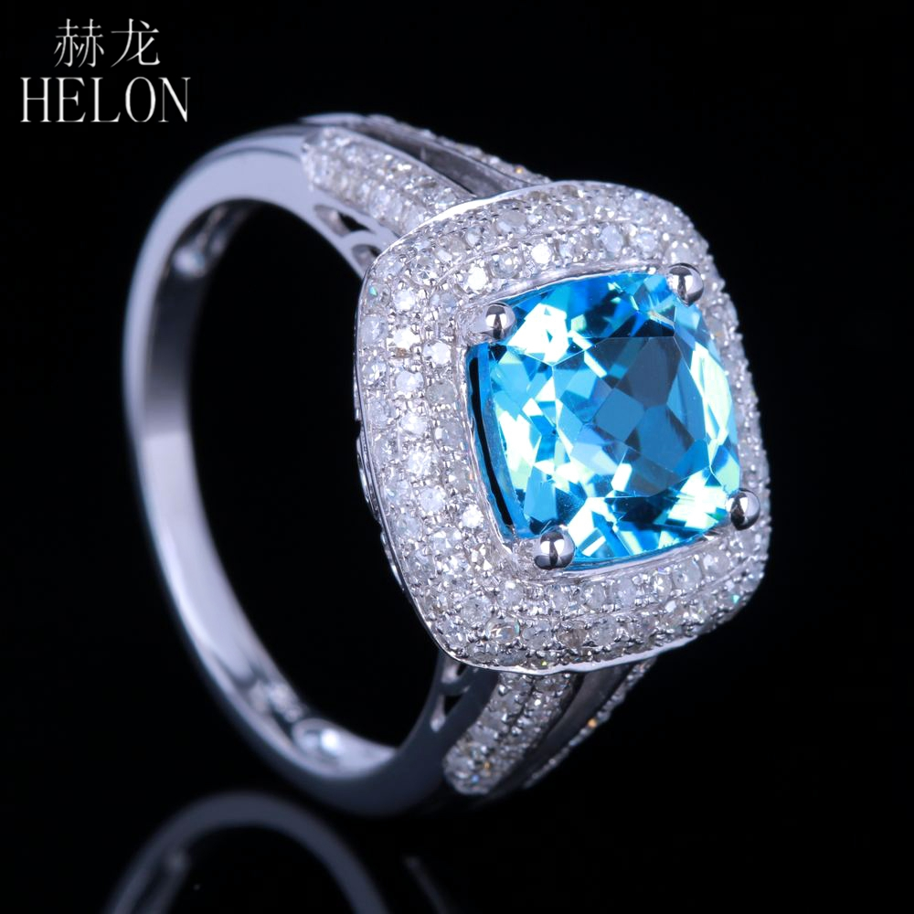HELON Brilliant 8mm Cushion Cut Blue Topaz Pave Natural Diamond Engagement Wedding Ring Solid 10K White Gold Fine Jewelry Ring