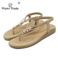 2017 Mùa Hè New Style Sandals Bling Rhinestone Căn Hộ Nữ Platform Wedges Sandals Kim Loại Kim Cương Thương Có Kích Thước Lớn Giày ST99-3