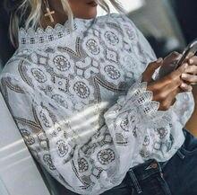 Elegant Lace Blouse For Womens Long Lantern Sleeve Shirt Hollow Flowers Lace Chiffon Tops Shirts Womens 2019 Autumn Plus Size