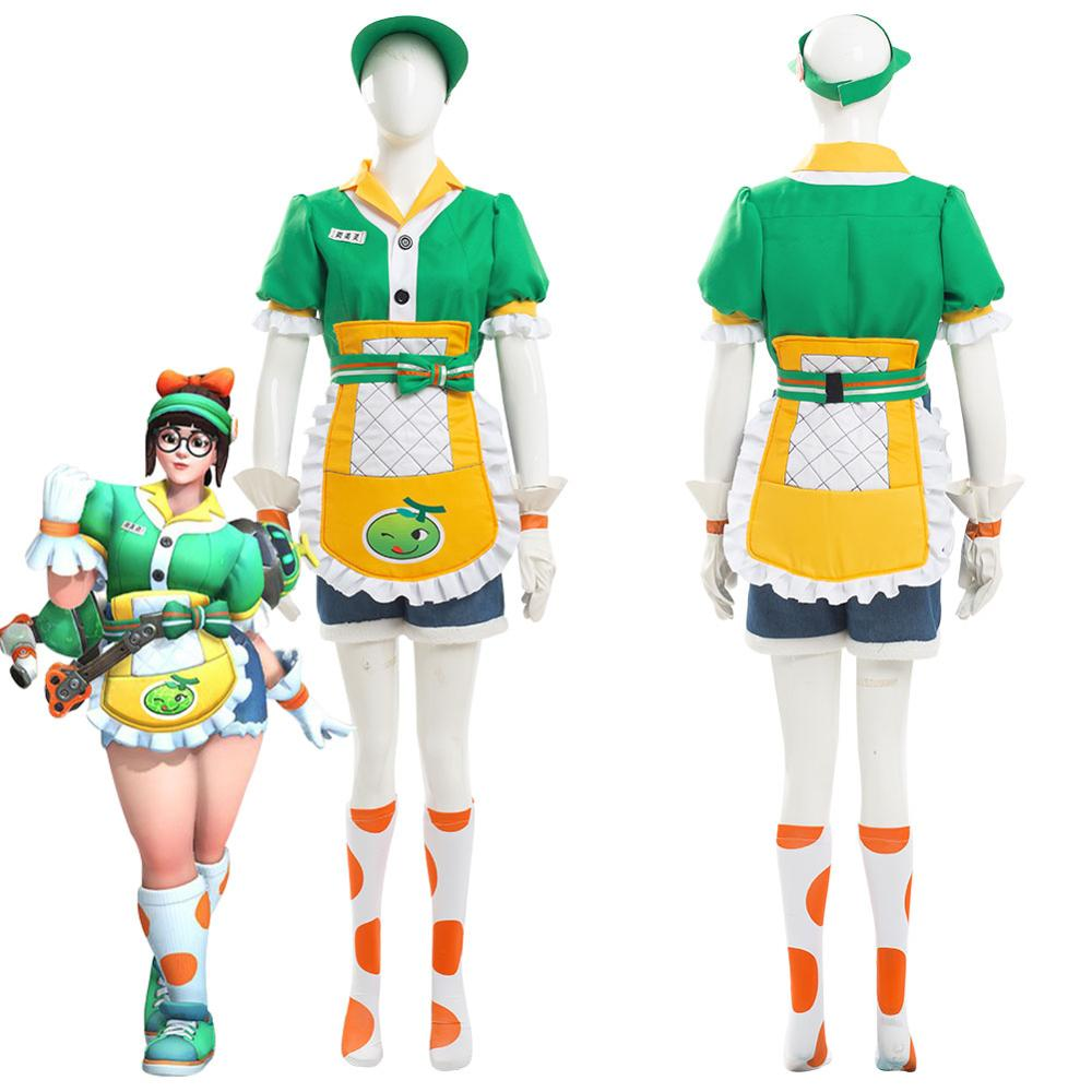 OW Mei Cosplay Costume Honeydew Skin Halloween Carnival Maid Costumes For Adult Women Female Girls Full Set Custom Made