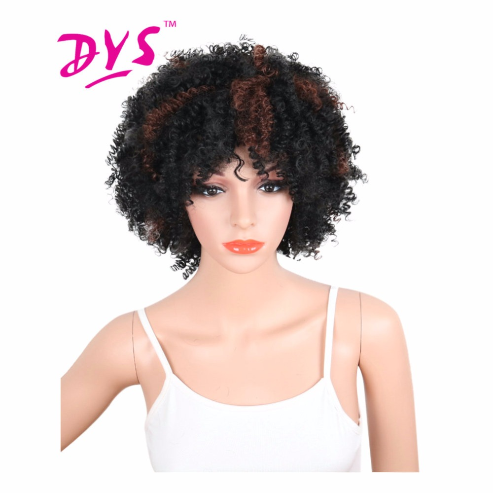 Deyngs Short Afro Kinky Curly Synthetic Wigs For Black And White Women Naturally African American Hair With Bangs Free Shipping