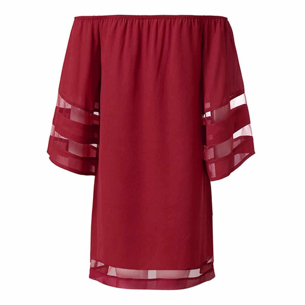 女性オフショルダーメッシュパネル 3/4 ベルスリーブルーズトップシャツドレス女性のチューブトップオフショルダー夏ドレスローブ寝 boheme