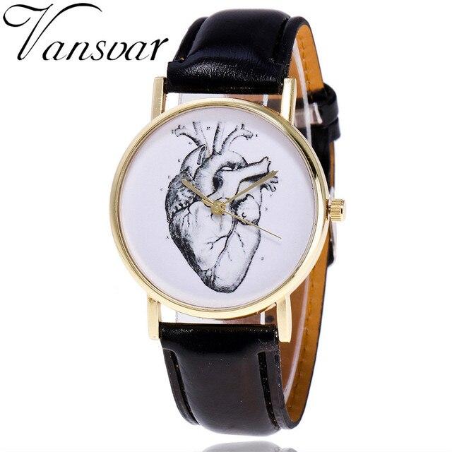 Vansvar Brand Vintage Leather Human Anatomy Heart Wrist Watch Casual