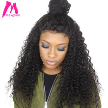 Maxglam Lace Wig For Afro American Full Lace Human Hair Wigs With Baby Hair Brazilian Curly Remy Hair Free Shipping(China)