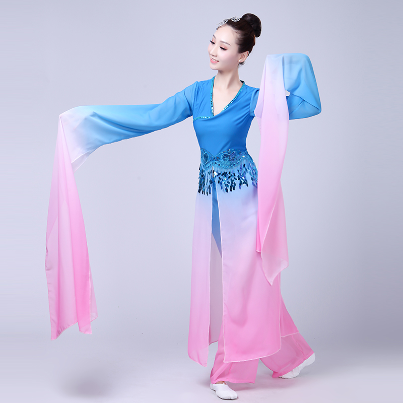 Hanfu clothing ancient chinese costume Yangko clothing elegant national sleeves set classical dance folk dance costume adult in Chinese Folk Dance from Novelty Special Use