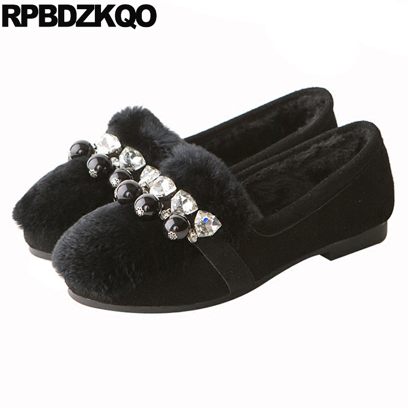 Winter Flats Latest Rabbit Women Suede Crystal Black Round Toe Rhinestone Ladies Designer Shoes China Pearl Fur Beautiful Spring ladies beautiful flats shoes black female large size casual fur glitter women slip on comfy 10 winter bling drop shipping latest