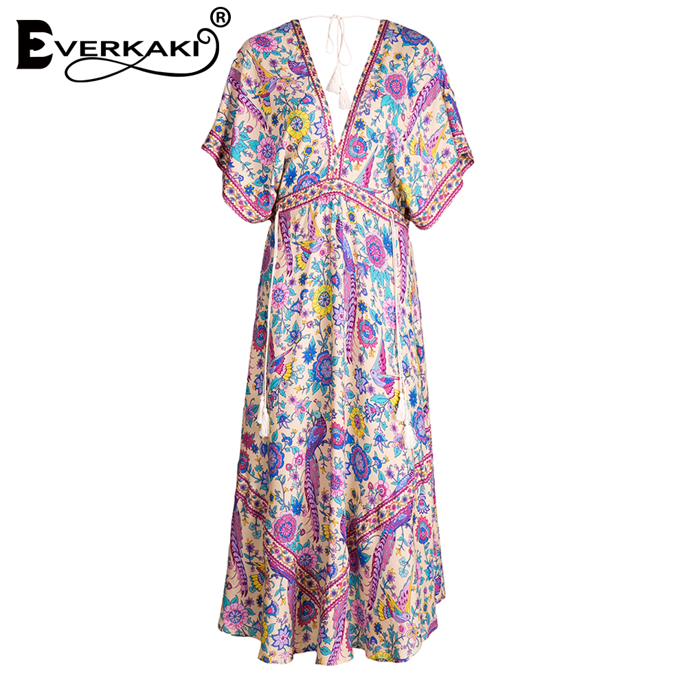 Everkaki Women Lovebird Half Moon Gown Print Summer Bohemian Dress Lady V Neck Drawstring Waist Gypsy
