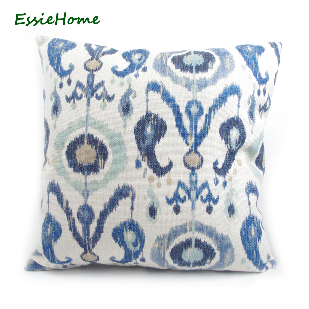 ESSIE HOME Factory Direct Sell High-End Hand Print Light Blue Ikat Pattern Pillow Case Cushion Cover For Sofa Vintage Look Home