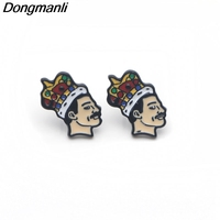 20pairs/lot Wholesale DMLSKY Singer band Freddie Mercury Stud Earrings Cute Earrings Enamel Earrings For Women Girls M2577