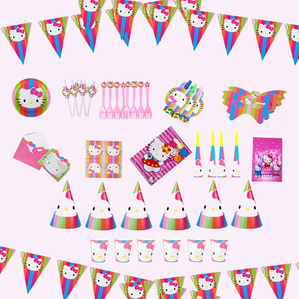 78pc Hello Kitty Theme for 6 Kids Birthday Tableware Pink Cartoon Decoration Children Girl 1st Birthday Party Hat Straw Hat Dish