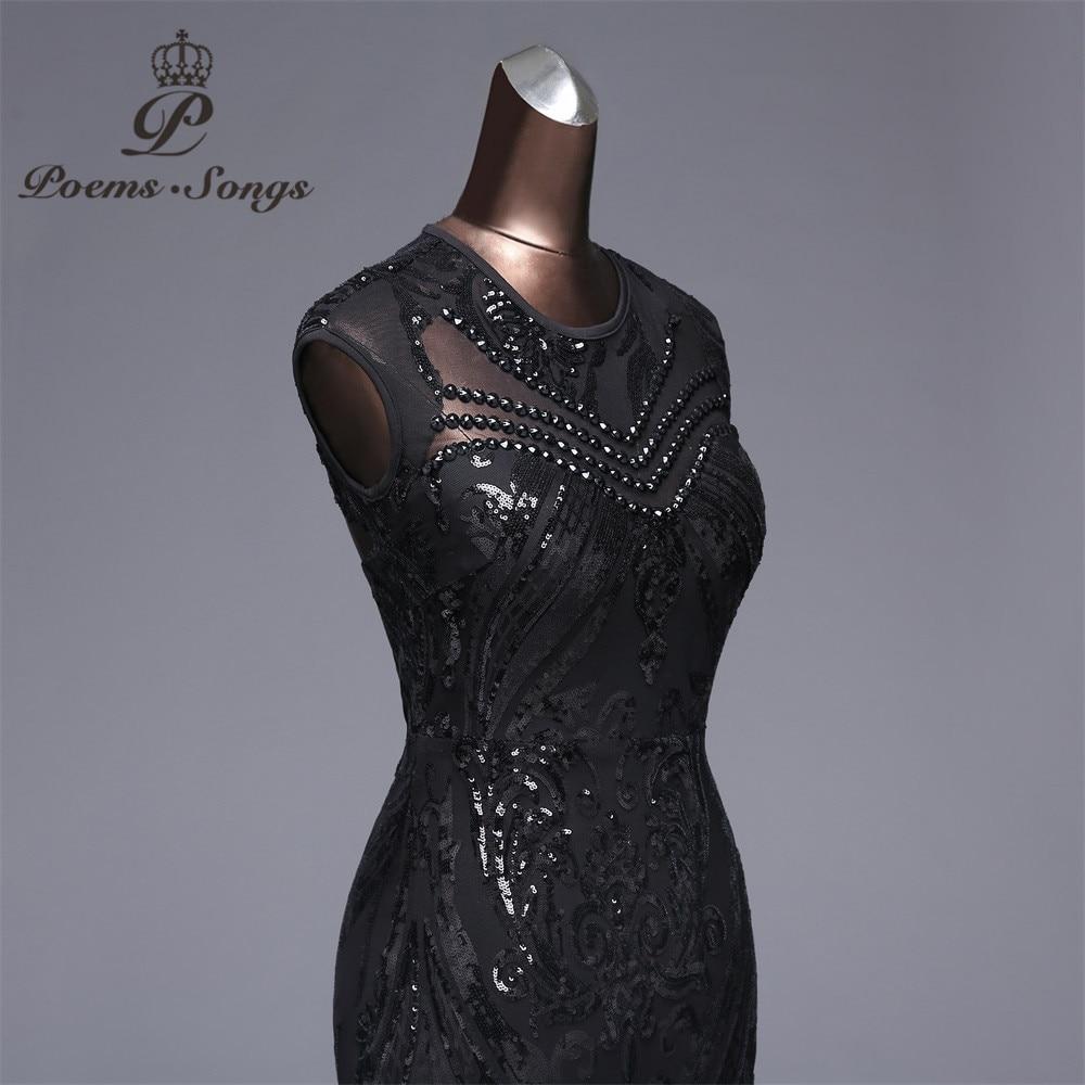 Poems songs Elegant Long black Sequin Evening Dress vestido de festa robe longue prom gowns Formal Party dress reflective dress