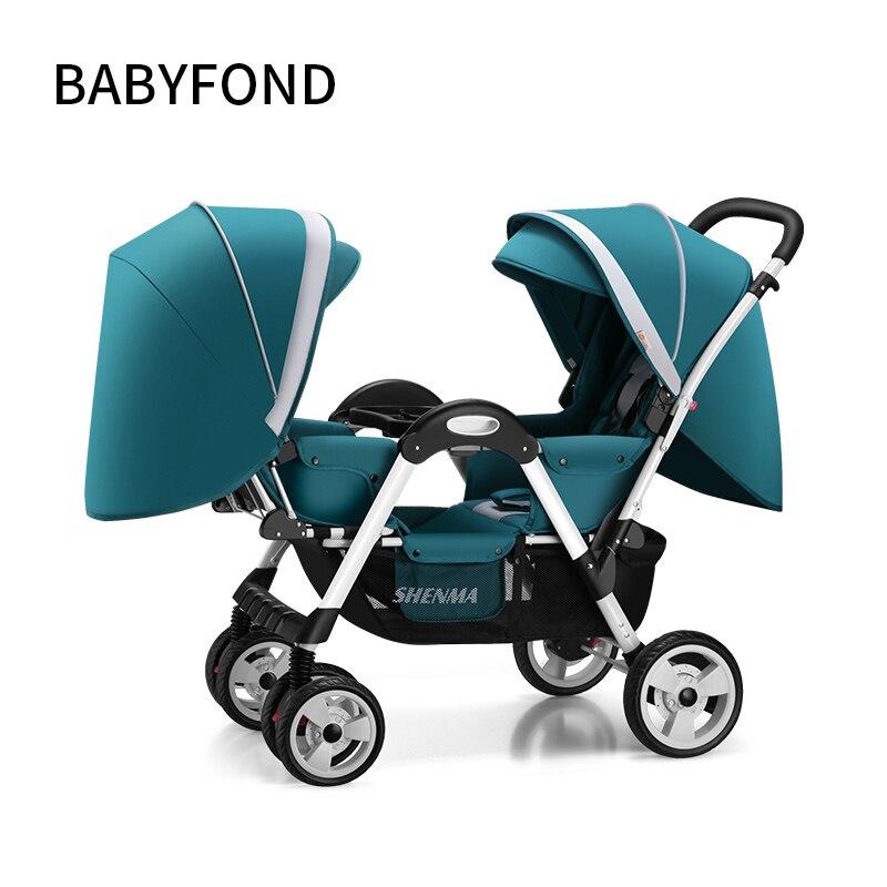 Babyfond jumeaux poussette De Bébé Peut S'asseoir Et Fold Babys Visage À Visage chariot