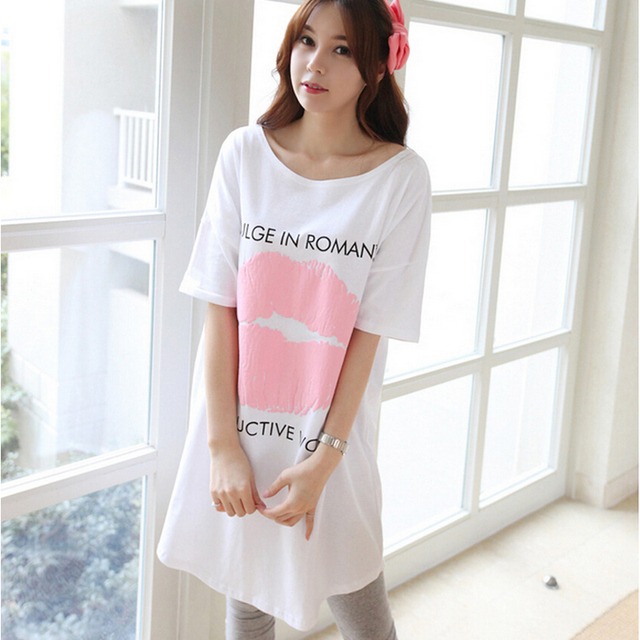 Summer Cotton Maternity Nightdress Clothes Pregnancy Sleepwear Plus Size Pregnant Nightwear Clothes Premama Pajamas White