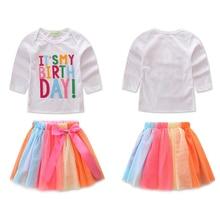Girl Dress Rainbow Suit Cotton Letter Print T-shirt+Mesh tutu Short Skirt With Bow 2pcs Clothing одежда для девочек ropa niñaD25
