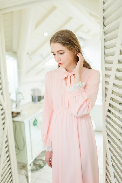 Women Cotton Nightgowns Spring Autumn Long Home Dress Ankle Length Long sleeve Night Gown Classical Vintage Sleepwear For Ladies