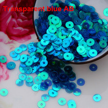 4000pcs/lot (30g) Trans.Blue  AB color 4mm Flat round loose sequins Paillettes sewing Wedding craft Good quality Free Shipping
