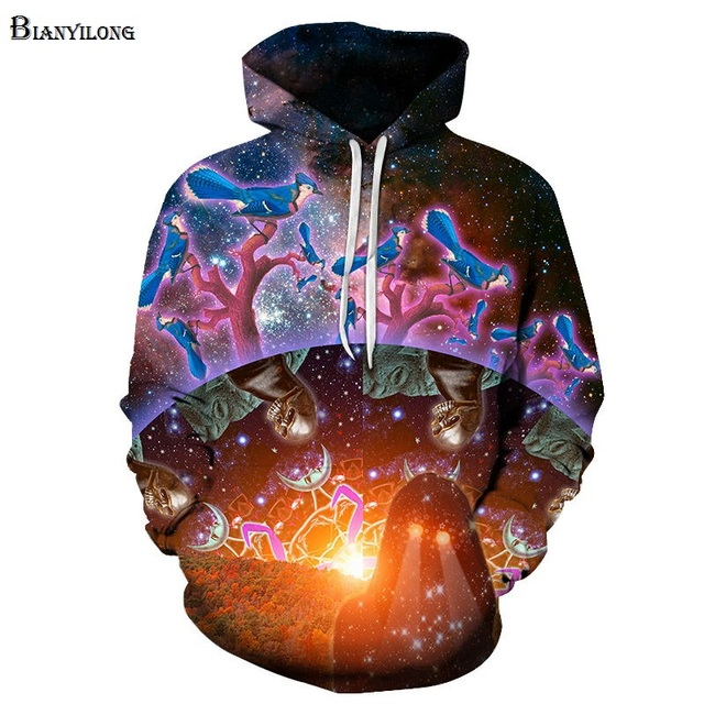 04efc71594e7 3D Sweatshirt Men Women Hoodies Galaxy Skull Bird Pullover Fashion Novelty  Boy Tracksuits Jacket Coat Plus Size 6XL BIANYILONG
