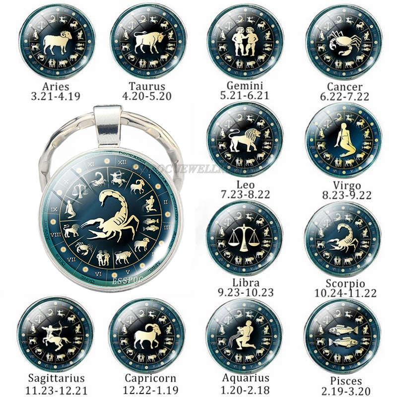 12 Constellation Jewelry Key Chain Zodiac Signs Keychain Key Rings Car Portachiavi Sleutelhanger Pendant Man Women Birthday Gift