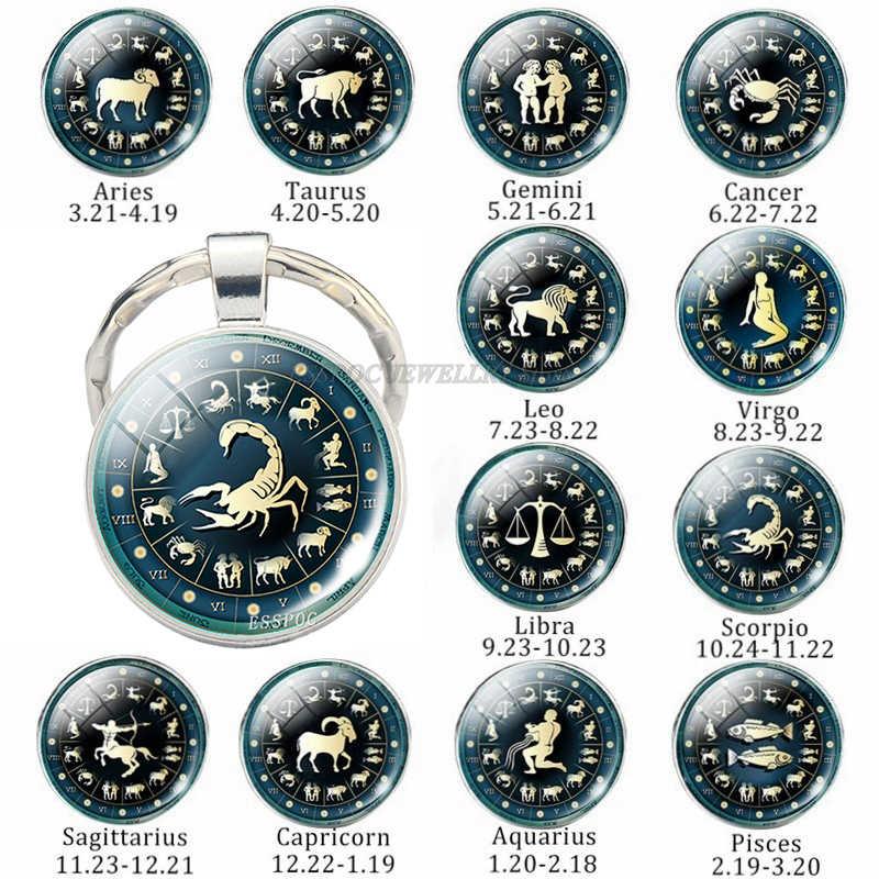 12 Constellation เครื่องประดับ Key Chain สัญญาณราศี Keychain แหวนกุญแจรถ Portachiavi Sleutelhanger จี้ผู้หญิงวันเกิดของขวัญ