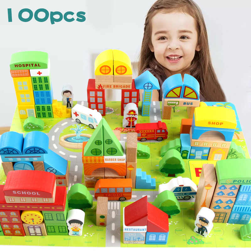 100 Pieces Baby Toys City Traffic Scenes Geometric Shape Building Blocks Early Educational Wooden Toy For Children Birthday Gift