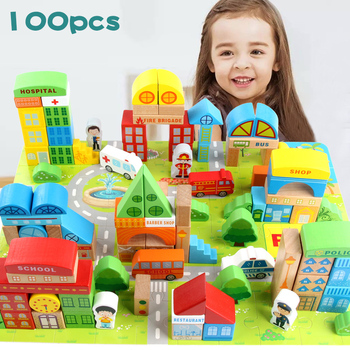 100 Pieces Baby Toys City Traffic Scenes Geometric Shape Building Blocks Early Educational Wooden Toy For Children Birthday Gift цена 2017