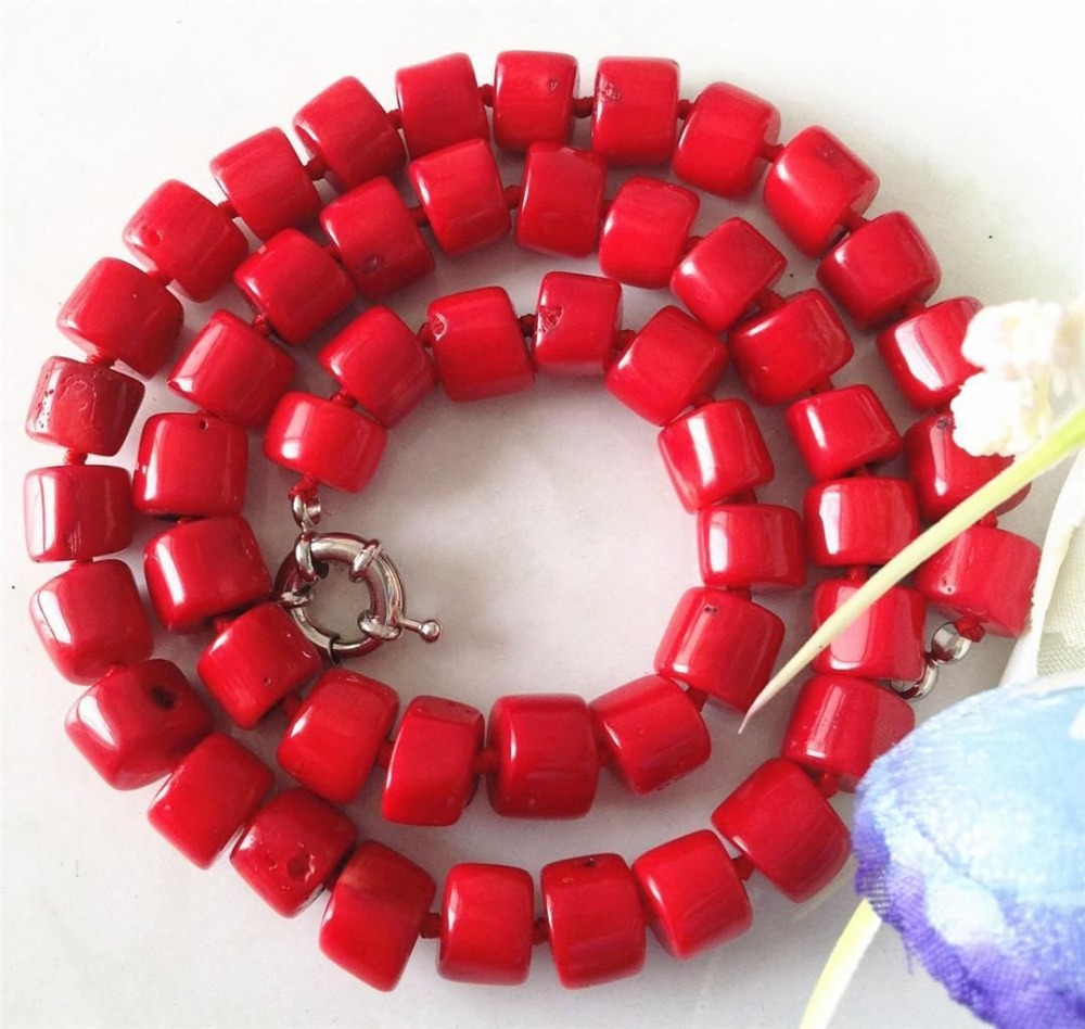 free shipping hot ! Shipping Rare Natural Jewellery 8-10mm Red Sea Coral Beads Necklace 20.5''Wolesale Price