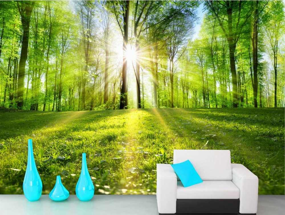 wallpaper scenery for walls Custom 3d background wallpapers Forest landscape trail sunshin 3d wall murals wallpaper for bathroom