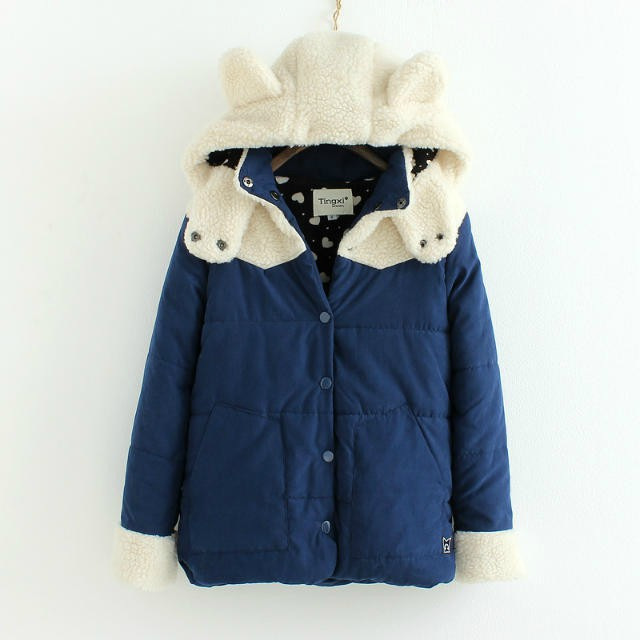 College Wind New Winter Cotton padded Clothes Simple Easy Comfortable Warm Bunny Lambs Wool Cotton padded