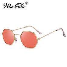 Who cutie 2018 marca designer matiz vermelho octagon óculos de sol das  mulheres do vintage lente amarela feminino óculos de sol . e4e0bdc67e