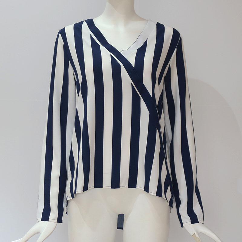 Women Striped Blouse Shirt Long Sleeve Blouse V-neck Shirts Casual Tops Blouse 50