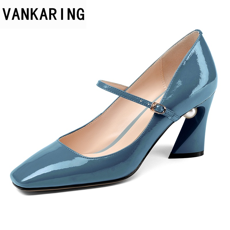 VANKARING 2018 new spring summer patent leather high heels women pumps black red white crystal shoes woman dress wedding pumps patent leather pumps shoes red black