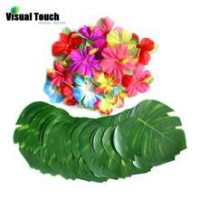 Визуальный сенсорный 12 шт. набор листья+ цветы Гавайи имитация листьев тропические вечерние украшения принадлежности растения пальмовые джунгли свадебный подарок