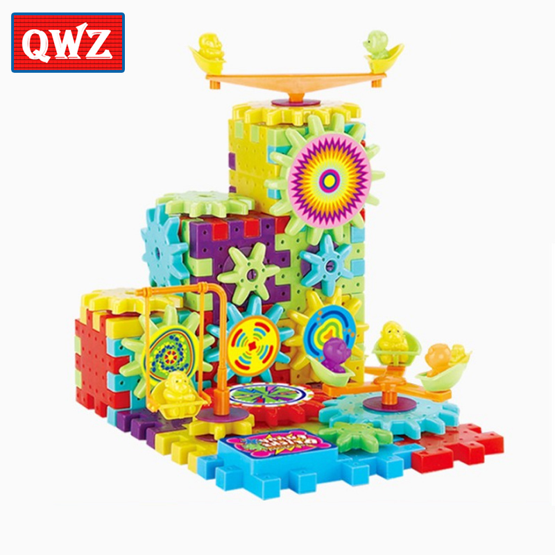 QWZ 81 piezas engranajes eléctricos modelo 3D Kits de construcción bloques de plástico juguetes educativos para niños regalos