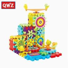 Qwz 81 pçs engrenagens elétricas modelo 3d kits de construção blocos tijolo plástico brinquedos educativos para crianças presentes