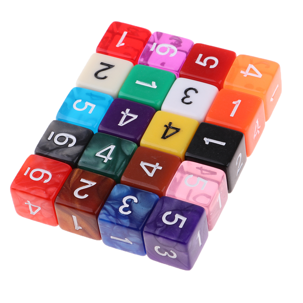 20pcs 6 Sided Dice Set With Numbers Party Table Game Kids Math Practice Multi-color Translucent Polyhedral Dice Bulk For Family