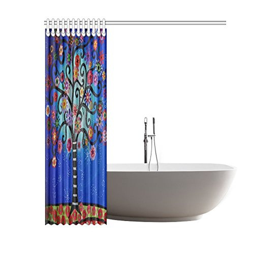 60Width X 72Height Mexican Style Flower Tree Polyester Shower Curtain Waterproof Material Bath 72x72 Inch 183x183cm In Curtains From Home