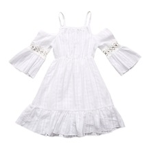 Summer Europe And The United States New Girls Dress Cotton White Ruffled Strapless Strap Dress For Little Girls Casual Dresses