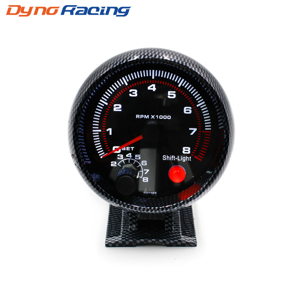 hight resolution of tachometer 3 75inch 80mm racing car 0 8000 rpm carbon fiber rpm gauge with shift