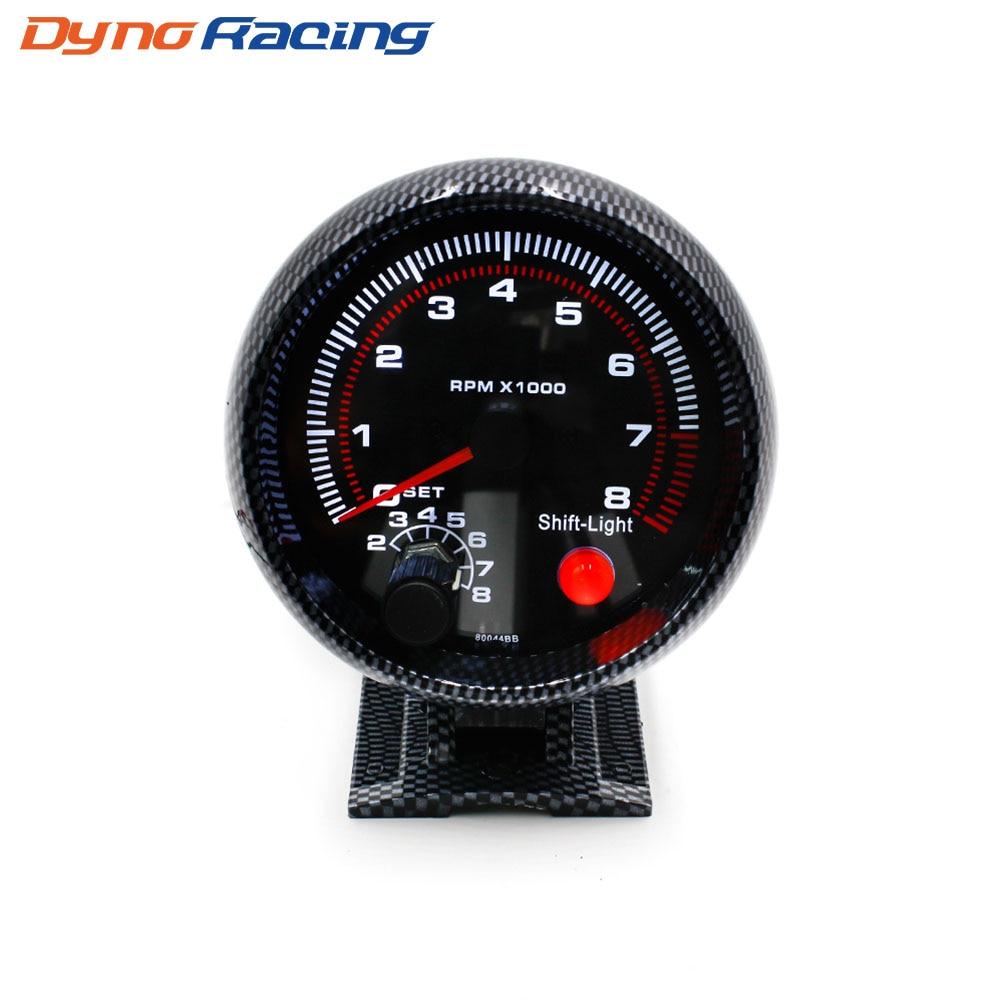 tachometer 3 75inch 80mm racing car 0 8000 rpm carbon fiber rpm gauge with shift [ 1000 x 1000 Pixel ]