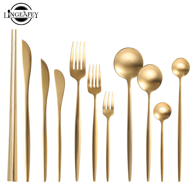Gold Cutlery Set 18/10 Stainless Steel Cutlery Set Chopsticks Butter Knife Dessert Spoon Dinner Fork Tea Ice Spoon Tableware Set
