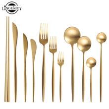 Золотой набор столовых приборов 304, набор столовых приборов из нержавеющей стали, палочки для еды, нож для масла, десертная обеденная ложка, вилка, чайная ледяная ложка, набор посуды