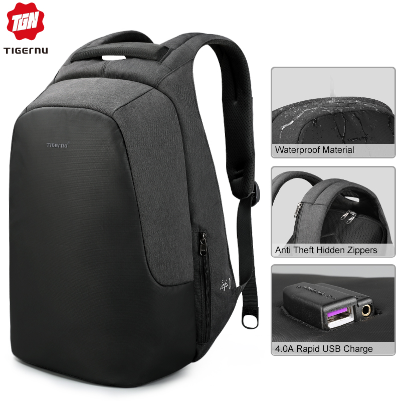 Tigernu brand men women anti theft backpack for 15 6 laptop casual travel splashproof backpacks school