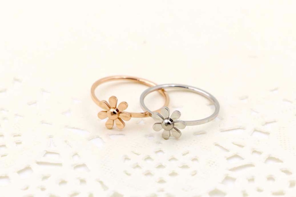 Stainless Steel Valentine's Day gift women ring rose gold color zircon ring for women BR01